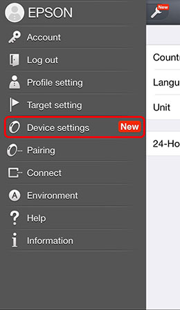 Open the Settings menu in the upper left corner of the PULSENSE View screen and tap Device settings.