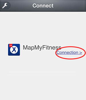 MapMyFitness connection screen